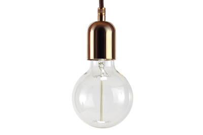 Industrial Pendant Light Copper, Brown Cable