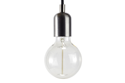 Industrial Pendant Light Raw Steel, Black Cable