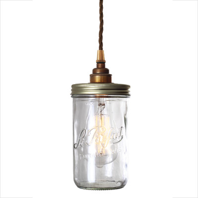 Jam Jar Pendant Light Antique Brass