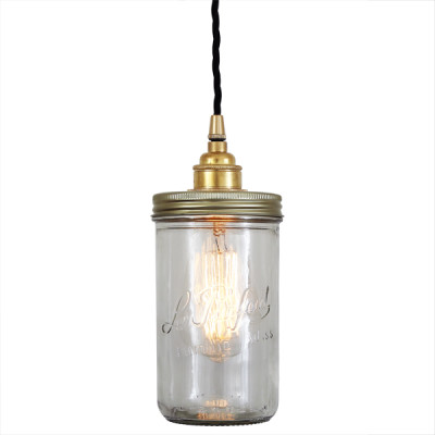 Jam Jar Pendant Light Satin Brass