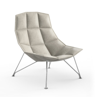 Jehs & Laub Lounge Chair - Circa Fabric, Silver Wire Base in Chrome