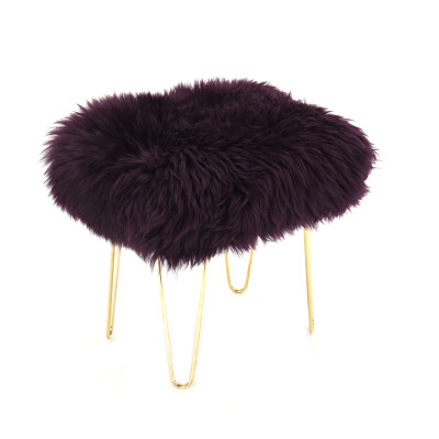 Judy Sheepskin Footstool  in Aubergine