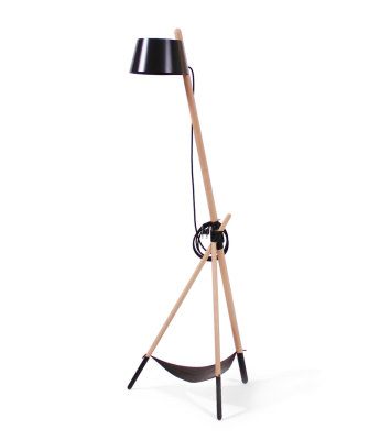 Ka M - Floor Lamp Black with leather tray