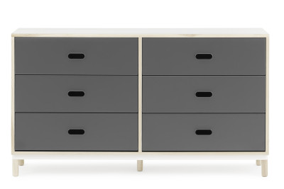Kabino Dresser with 6 Drawers Grey