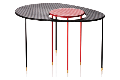 Kangourou Coffee and Side Table Black and Red