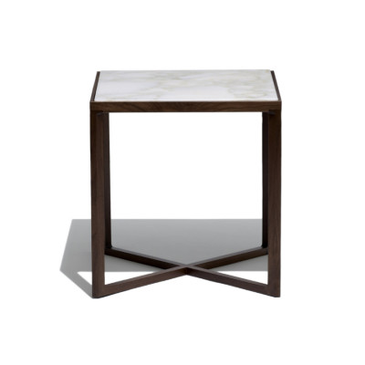 Krusin Side Table 45cm, Natural Oak / Clear Glass