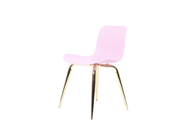 Langue Avantgarde Dining Chair, Brass - Plastic Moulded Plastic - Tanzanite Pink