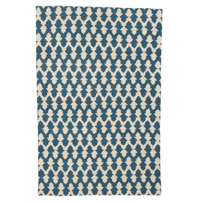 Lattice Crewel Rug Teal & Ecru