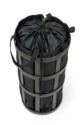 Laundry Basket Cage - Dark oak with black bag