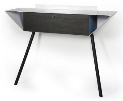 "Leaning sideboard ""Anlehnschrank 02 - Slate"" Blue with oak wood legs oiled (= natural)"