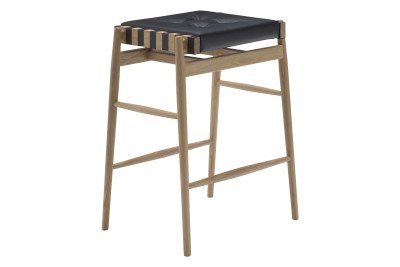 Leather Bar Stool Oak, Black
