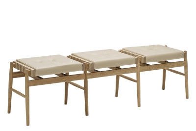 Leather Triple Stool Oak, Pale Brown