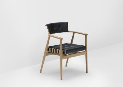 Leather Upholstered Backrest Chair Oak, Black