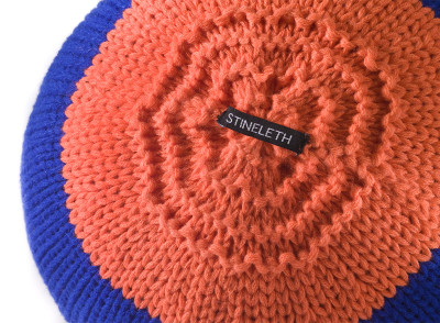 Knitted Ball Cushion in Blue by Stine Leth for Korridor
