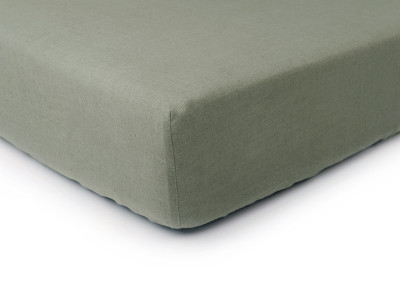 Linen fitted sheet Moss green King