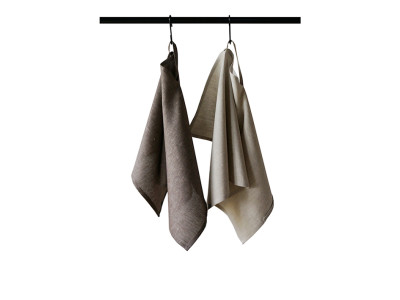 Linen tea towels Set Brown