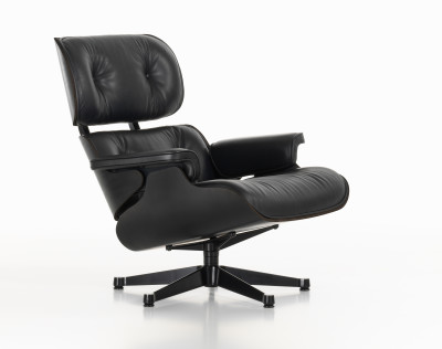 Lounge Chair Nero New Dimension, Leather Premium nero, 04 glides for carpet