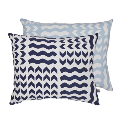 Lucknow Rectangular Cushion Cover Navy and Sky