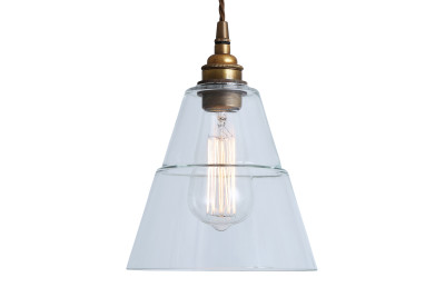 Lyx Clear Glass Pendant Light Antique Brass