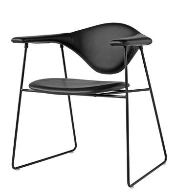 Masculo Dining Chair Sledge Base Dunes 21000 Cognac, Frame Matt Black