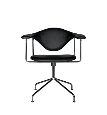 Masculo Dining Chair - Swivel Base Leather Silk SIL0197 Cream, Frame Matt Black