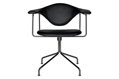 Masculo Dining Chair with Swivel Base Medley 60003, Black Chrome Base