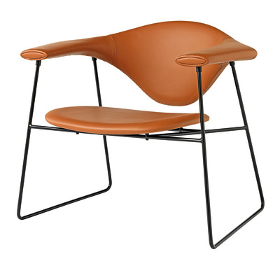 Masculo Lounge Chair - Sledge Base Belsuede col. 001, Frame Chrome