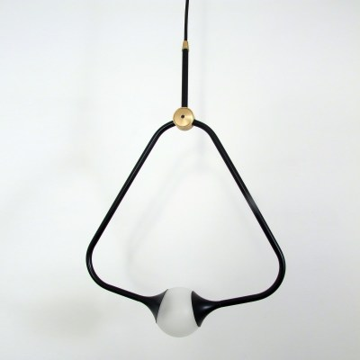 Medal Pendant Light Brass, Black
