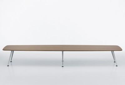 MedaMorph Boat-Shaped Conference Table 500x140 melamine soft light, not provided