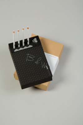 Memo Pad & Organizer Black Pad & White Pencils