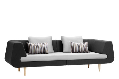 Mirage 3 Seater Sofa Black and Light Grey
