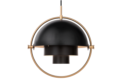 Multi-Lite Pendant Light Charcoal Black and Brass