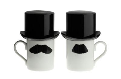 Mustafa Chaplin Moustache Mug with Sugar Bowl Top Hat