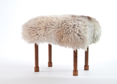 Myfanwy Sheepskin Footstool  Rare Breed