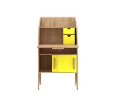 Oak Marius Origami Secretary Yellow