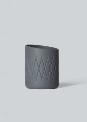 Oblique Tea Light Holder Dark Grey