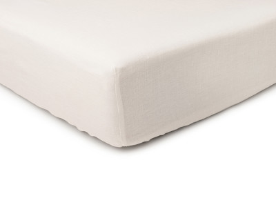 Off white linen fitted sheet