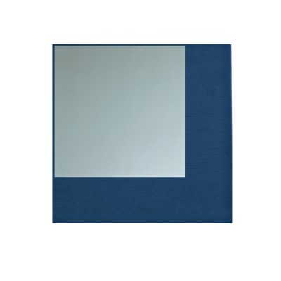 Offset Mirror Square Grey Mirror, Blue Wood