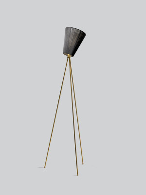 Oslo Wood Floor Lamp Black Shade, Gold Body