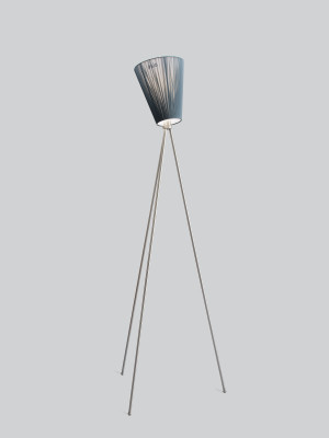 Oslo Wood Floor Lamp Green Shade, Steel Body