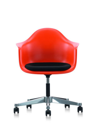 PACC Eames Plastic Armchair With Seat Upholstery 03 red, 02 castors hard - braked for carpet, Hopsak 05 dark grey