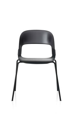 Pair Chair Black Lacquered Oak Black Chrome