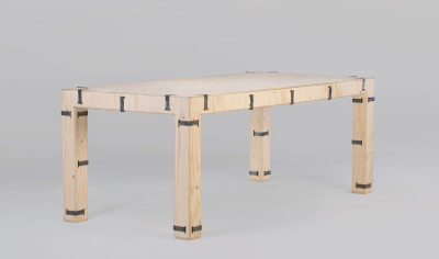 Pakiet Dining Table - Rectangular Spruce Plywood, Galvanized Steel Clips, 190 x 90cm