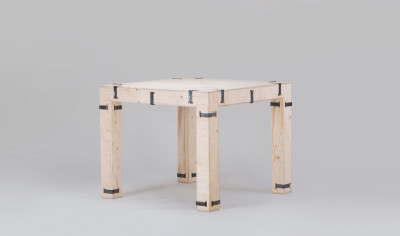 Pakiet Dining Table - Square Spruce Plywood, Galvanized Steel Clips