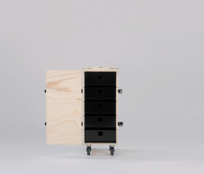 Pakiet Trolley B Birch Plywood, Black Drawers, Galvanized Steel Clips