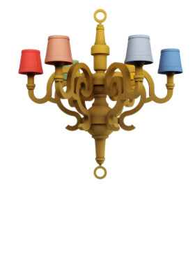 Paper Chandelier Patchwork L - Set of 2
