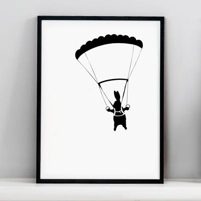 Parachute Rabbit Screen Print
