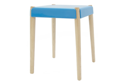 Peg Stool Maple Legs, Bright Blue Seat