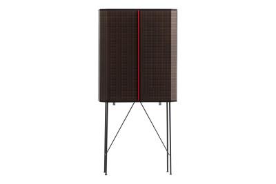 Perf Bar Cabinet Verdigris Doors, Wooden Top