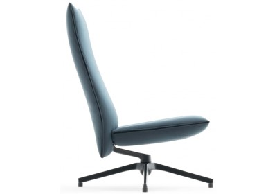 Pilot Chair High Back A3104 - Divina 3 984 green, Slim Version, With Upholstered Arms, Bright Base
